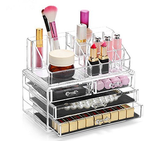 Display4top Crystal Make Up portatrucchi con quattro cassetti impermeabili trasparenti