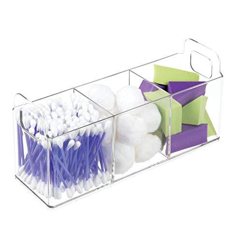 mDesign contenitore trasparente porta trucchi e porta cosmetici a 3 scomparti ideale per bagno o camera